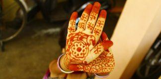 Child's hands with mehendi
