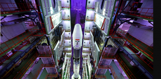 Fully integrated GSLV inside the Vehicle Assembly Building, Sriharikota | ISRO