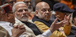 Prime Minister Narendra Modi and BJP President Amit Shah during the BJP Parliamentary Party meeting at Parliament House