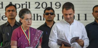 Congress president Rahul Gandhi and senior party leader Sonia Gandhi during the release of the party's manifesto | Kamal Singh/PTI
