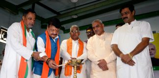 West Bengal's BJP team with (L-R) Mukul Roy, Kailash Vijayvargiya, Dilip Ghosh and Rahul Sinha. | ANI Photos