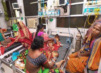 Children showing symptoms of Acute Encephalitis Syndrome (AES) undergoing treatment at Sri Krishna Medical College and Hospital (SKMCH), in Muzaffarpur