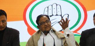 Congress leader P. Chidambaram addressing a press conference in New Delhi on the JNU violence