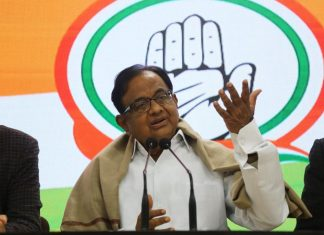 Congress leader P. Chidambaram addressing a press conference in New Delhi on the JNU violence