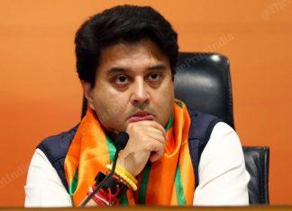 Jyotiraditya Scindia at the BJP headquarters, New Delhi | Suraj Singh Bisht | ThePrint