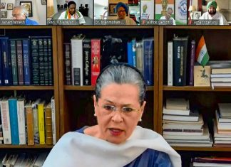Congress interim president Sonia Gandhi speaks with part leaders and CMs of Congress-ruled states | PTI via INC/Twitter