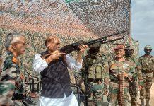 Defence Minister Rajnath Singh at a forward base in Ladakh