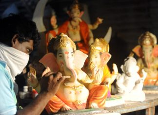 An idol maker hard at work in Mumbai ahead of Ganesh Chaturthi, which starts 22 August | ANI