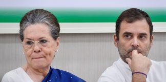 Congress interim president Sonia Gandhi with Rahul Gandhi during a Congress Working Committee (CWC) meeting in New Delhi | Atul Yadav | PTI File Photo
