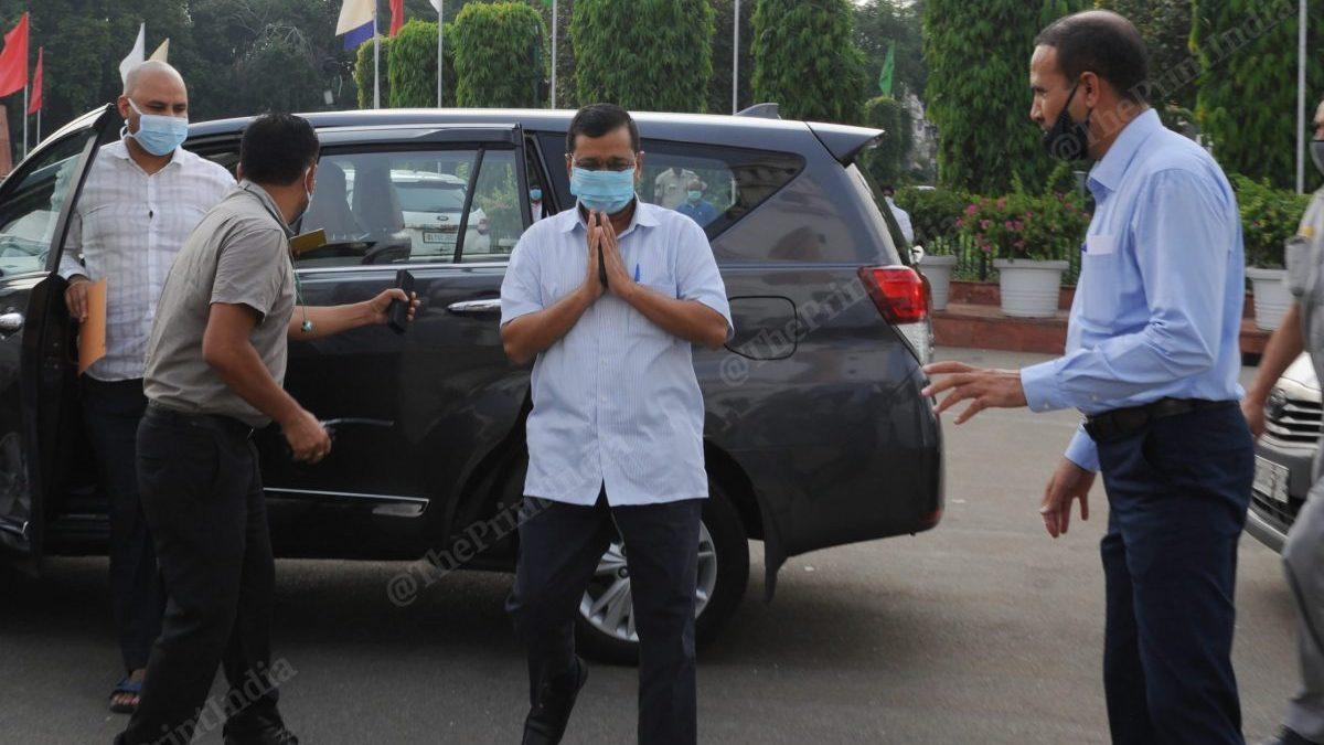 Delhi CM Arvind Kejriwal arrives for the one-day special assembly session held Monday | Suraj Singh Bisht | ThePrint