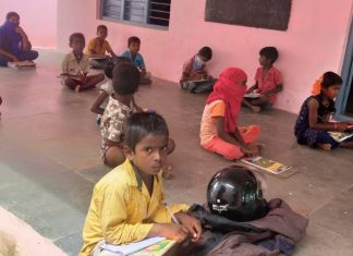 Students in Rangareddy distrcit were brought together to learn from a single device | By special arrangement