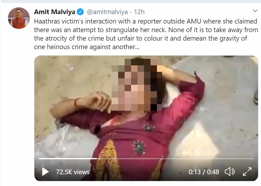 Amit Malviya's tweet on the Hathras victim.