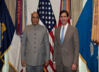 File photo of Defence Minister Rajnath Singh with US Defence Secretary Mark T Esper | ANI