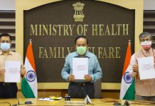 Union Health Minister Harsh Vardhan releases the AYUSH ministry's Covid treatment protocol on 6 October 2020 | Twitter | @drharshvardhan