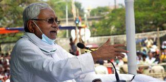 Bihar CM Nitish Kumar addressing a rally in Begusarai Saturday | Photo: ANI