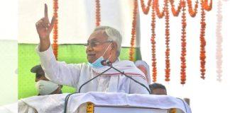 Bihar CM Nitish Kumar addresses a campaign rally at Islampur village in Nalanda district on 27 October 2020 | Praveen Jain | ThePrint