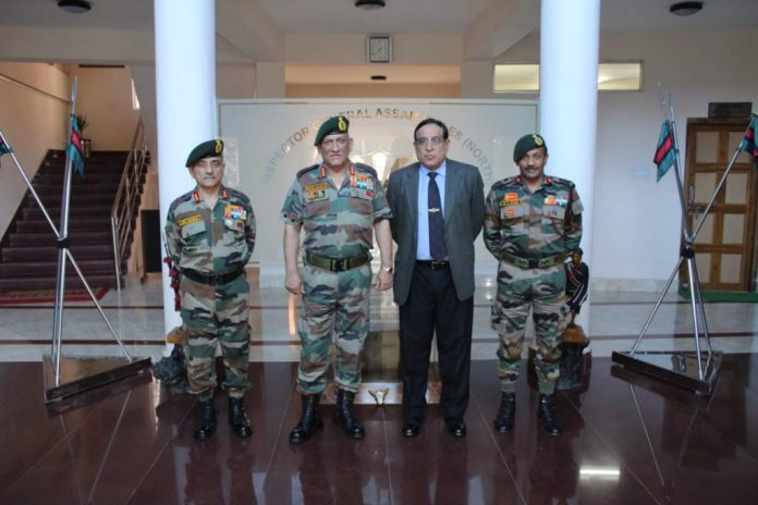 Lt Gen Shokin Chauhan (second from right), who was CFMG chairman, with Bipin Rawat (second from left), who was Army chief at the time, with senior military leaders in Nagaland in 2019 | By special arrangement