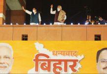 BJP President J.P. Nadda left) and PM Narendra Modi right) addressing the crowd | Photo: Praveen Jain | ThePrint