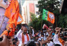 BJP workers celebrate the party's bypoll at Dubakka in Telangana | Twitter: @BJP4Telangana