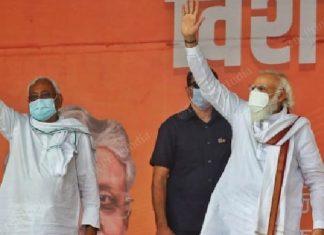 Nitish Kumar and Narendra Modi at a rally in Bihar, Oct 2020   Praveen Jain/ThePrint