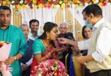 Delhi CM Arvind Kejriwal at the engagement ceremony of his aide Aswathi Muralidharan with Rohit Kumar (left) | Photo: Twitter | @ArvindKejriwal