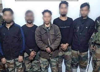 ULFA-I leader Drishti Rajkhowa, along with four accomplices, surrendered with a huge quantity of arms at Meghalaya-Assam- Bangladesh Border on 12 November. | Photo: ANI