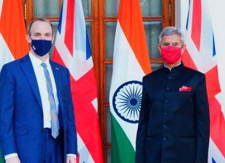 External Affairs Minister S Jaishankar with his British counterpart Dominic Raab in New Delhi | PTI