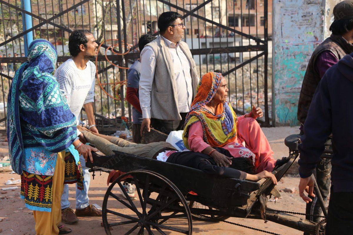 On 25 Februrary, Faizan was brought to the main road on a cart | Photo: Manisha Mondal | ThePrint
