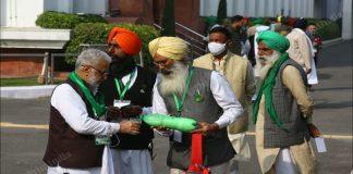 Farmer representatives at Vigyan Bhawan, Delhi, ahead of their talks with the government on 5 December | Suraj Singh Bisht | ThePrint