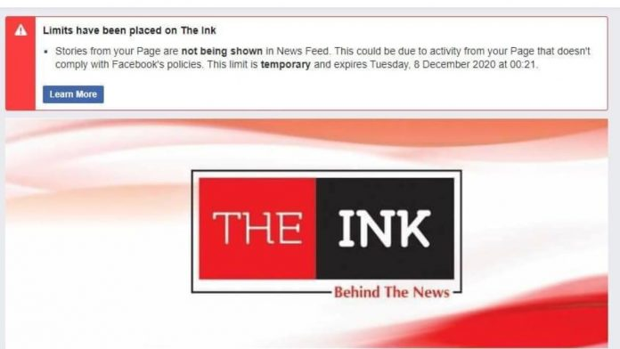 A screenshot of the message received by the administrators of The Ink Facebook page