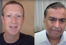 Mark Zuckerberg and Mukesh Ambani during their online interaction | By special arrangement