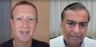 Mark Zuckerberg and Mukesh Ambani during their online interaction | By special arrangement