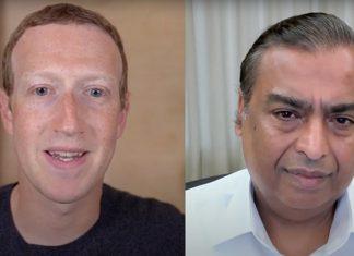 Mark Zuckerberg and Mukesh Ambani during their online interaction   By special arrangement