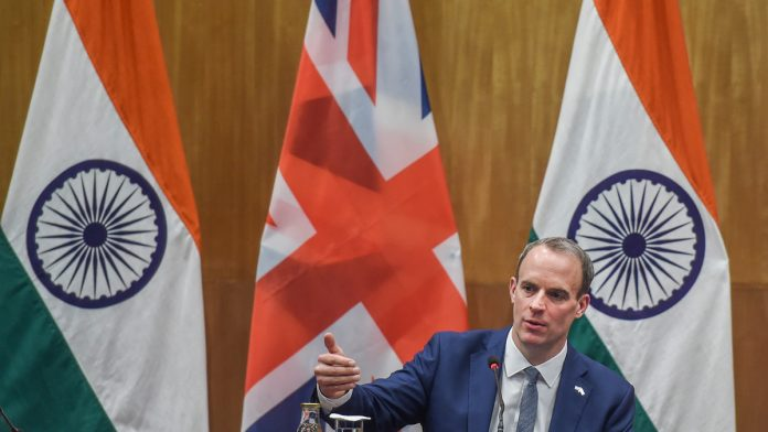 British Foreign Secretary Dominic Raab at a joint press statement in New Delhi on 15 December | PTI Photo | Manvender Vashist