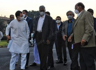 Rahul Gandhi, Sharad Pawar, Sitaram Yechury, D Raja and TKS Elangovan outside Rashtrapati Bhawan after meeting with President Ram Nath Kovind in New Delhi on 9 December
