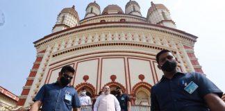 Home Minister Amit Shah at Dakshineswar Kali temple during his visit to Kolkata in November   Photo: Twitter/@AmitShah
