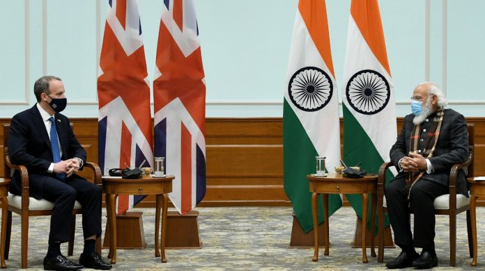 Prime Minister Narendra Modi during a meeting with UK Foreign Secretary Dominic Raab in New Delhi on 16 December
