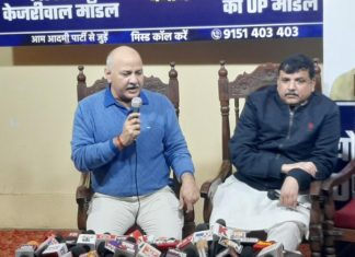 (From left) AAP leaders Manish Sisodia and Sanjay Singh at the press conference in Lucknow Tuesday | Photo: Prashant Srivastava | ThePrint