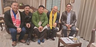 Assam minister and BJP leader Himanta Biswa Sarma (left) discussing post-poll alliance with UPPL chief Pramod Bodo and GSP president Hira Sarania in Guwahati. | Photo: Special arrangement