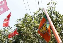 CPI(M) and BJP flags in Kannur, Kerala (representational image) | ThePrint photo