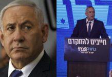 Israel PM Benjamin Netanyahu (L) and chief coalition leader Benny Gantz (R)