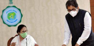 CM Mamata Banerjee with Alapan Bandyopadhyay during a meeting, in Kolkata   Photo: PTI