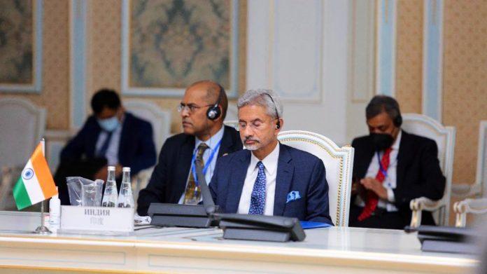 Jaishankar addressing a meeting of SCO at Dushanbe on 14 July 2021 | Twitter /@DrSJaishankar