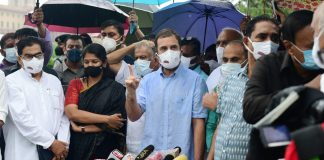 Congress leader Rahul Gandhi with leaders of Opposition parties addresses media on the issue of the Pegasus Project in New Delhi Wednesday, on 28 July 2021 | PTI