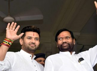 File image of the late Union minister Ram Vilas Paswan and his son Chirag Paswan | ANI