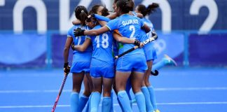 Indian women's hockey team after winning against Australia, 2020 Tokyo Olympics | Twitter/TheHockeyIndia/