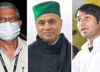 JD(U) leaders Rajiv Ranjan Singh aka Lalan Singh (left), and RCP Singh; RJD leader Tej Pratap Yadav   Photos via Twitter/PTI