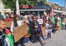Afghans in Sweden protest against Pakistan | Twitter/@LaibaYousafzai6